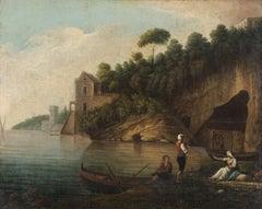 18th Century French School Mediterranean Costal Landscape Oil on Canvas