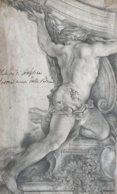 18th Century Frieze or Ceiling Design Original Pencil Drawing Bacchus