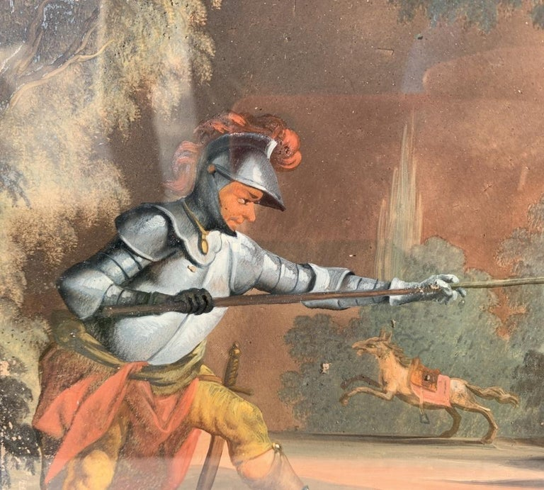18th century German figure painting - Knight - Oil on glass Old masters For Sale 5