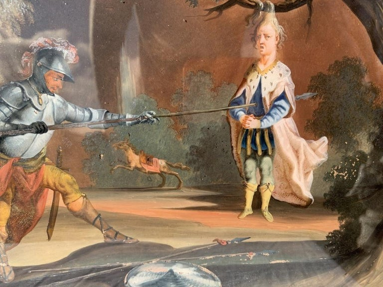 18th century German figure painting - Knight - Oil on glass Old masters For Sale 6