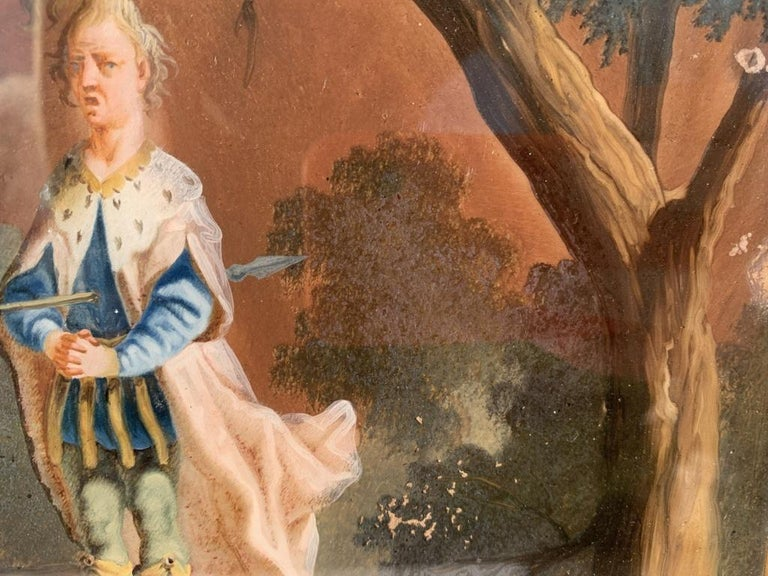 18th century German figure painting - Knight - Oil on glass Old masters For Sale 8