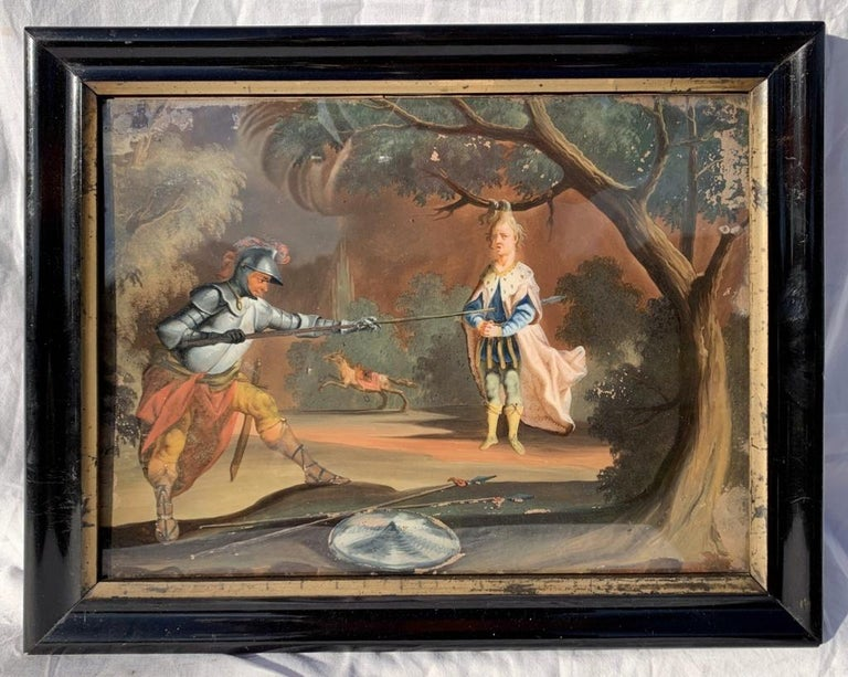 18th century German figure painting - Knight - Oil on glass Old masters - Painting by Unknown