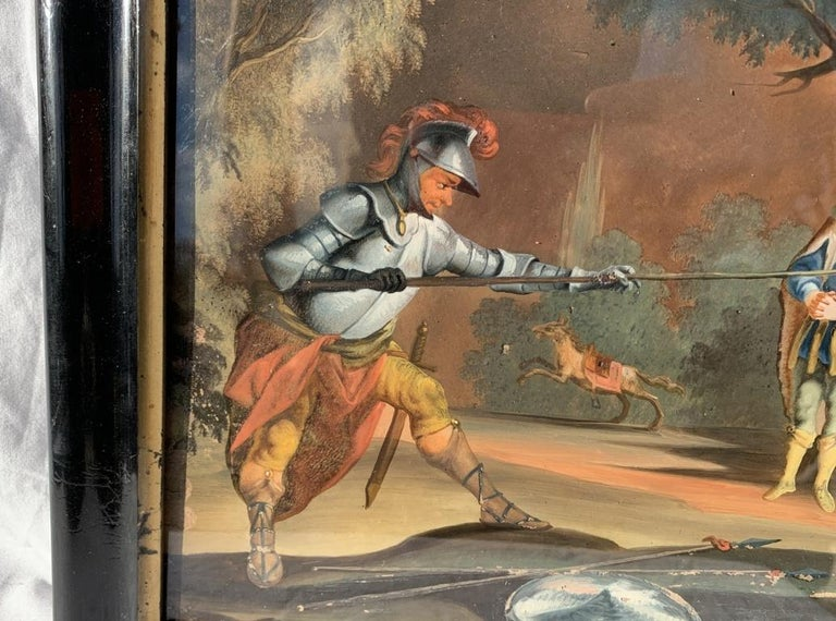 18th century German figure painting - Knight - Oil on glass Old masters - Old Masters Painting by Unknown