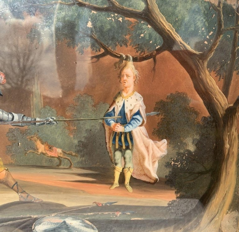 18th century German figure painting - Knight - Oil on glass Old masters - Black Landscape Painting by Unknown