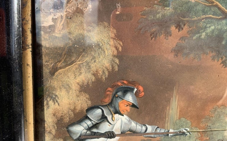 18th century German figure painting - Knight - Oil on glass Old masters For Sale 1
