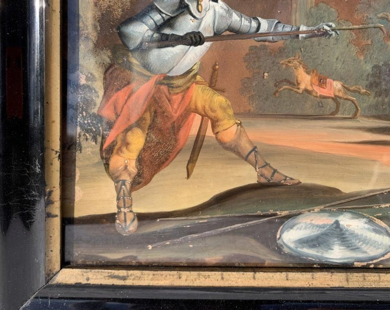 18th century German figure painting - Knight - Oil on glass Old masters For Sale 2