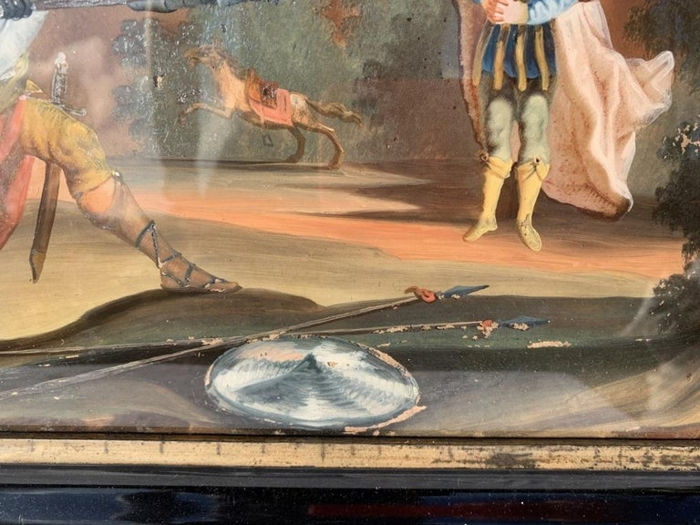18th century German figure painting - Knight - Oil on glass Old masters For Sale 3