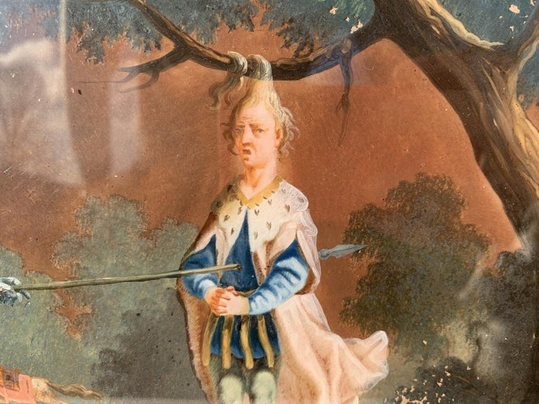 18th century German figure painting - Knight - Oil on glass Old masters For Sale 4