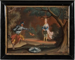 18th century German figure painting - Knight - Oil on glass old masters