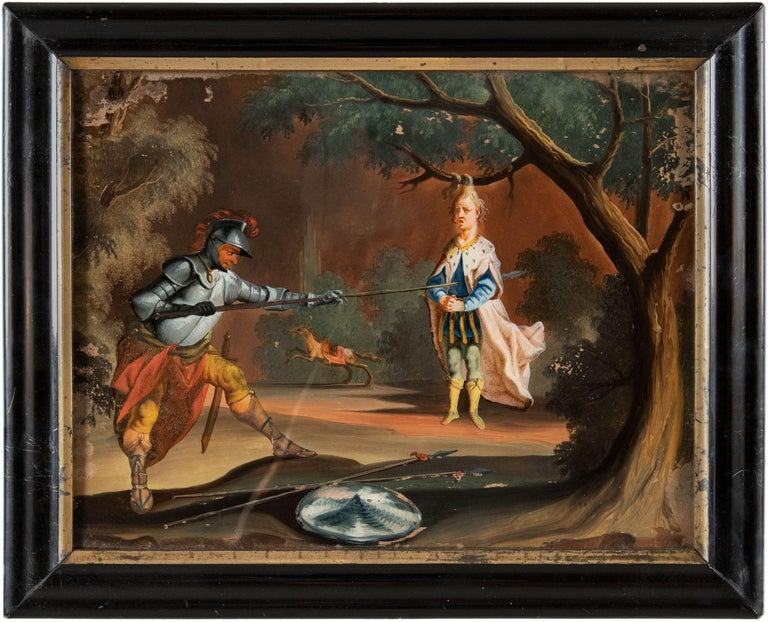 Unknown Landscape Painting - 18th century German figure painting - Knight - Oil on glass Old masters