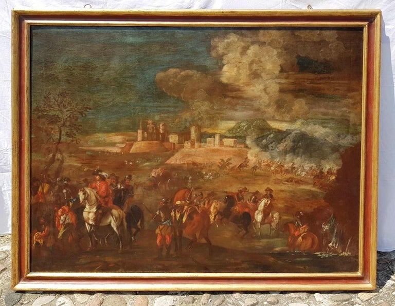 18th century Italian battle landscape painting - Oil on canvas Italy baroque - Old Masters Painting by Unknown