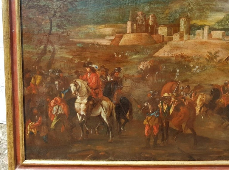18th century Italian battle landscape painting - Oil on canvas Italy baroque - Brown Landscape Painting by Unknown