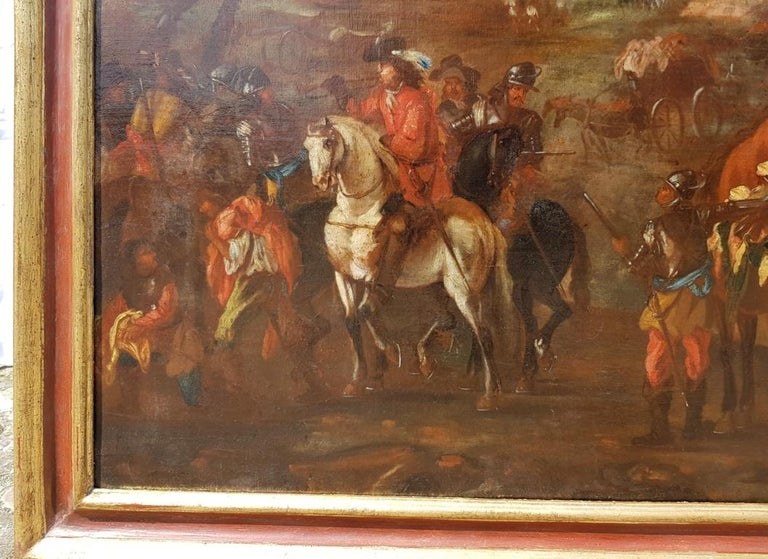 18th century Italian battle landscape painting - Oil on canvas Italy baroque For Sale 1