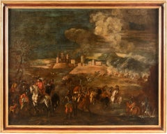 18th century Italian battle landscape painting - Oil on canvas Italy baroque