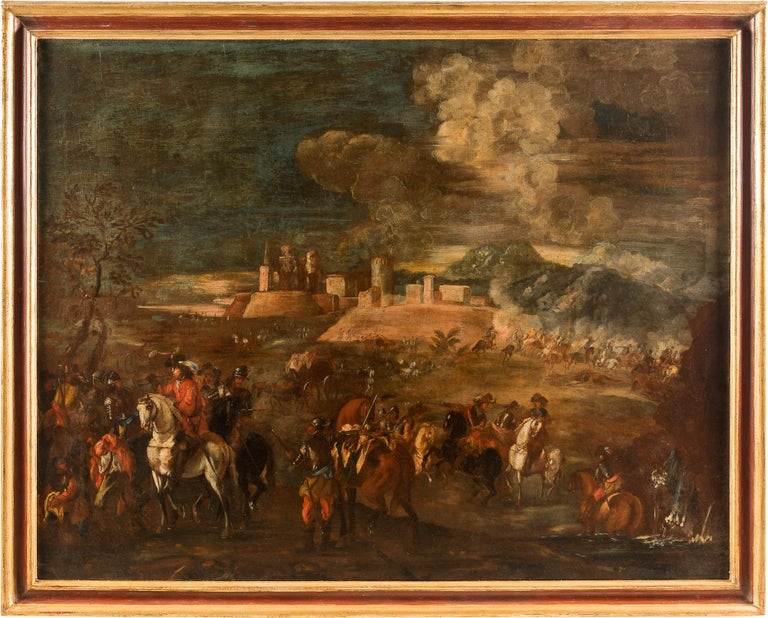 Unknown Landscape Painting - 18th century Italian battle landscape painting - Oil on canvas Italy baroque