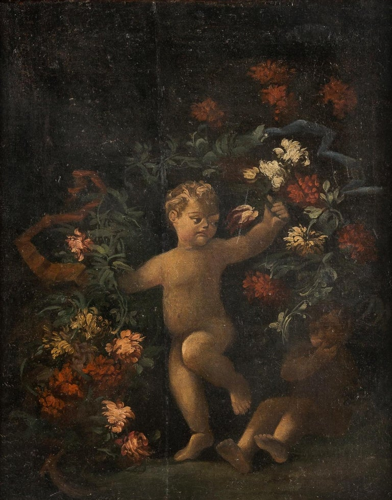 18th century Italian figurative painting - Still Life oil on canvas Italy putti - Painting by Unknown