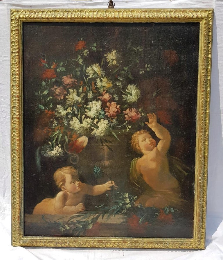 18th century Italian figurative painting - Still Life oil on canvas Italy putti - Old Masters Painting by Unknown