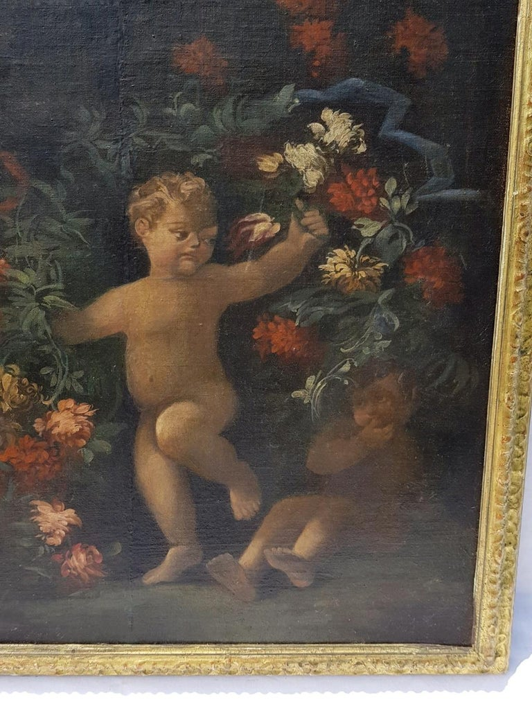 18th century Italian figurative painting - Still Life oil on canvas Italy putti - Black Still-Life Painting by Unknown