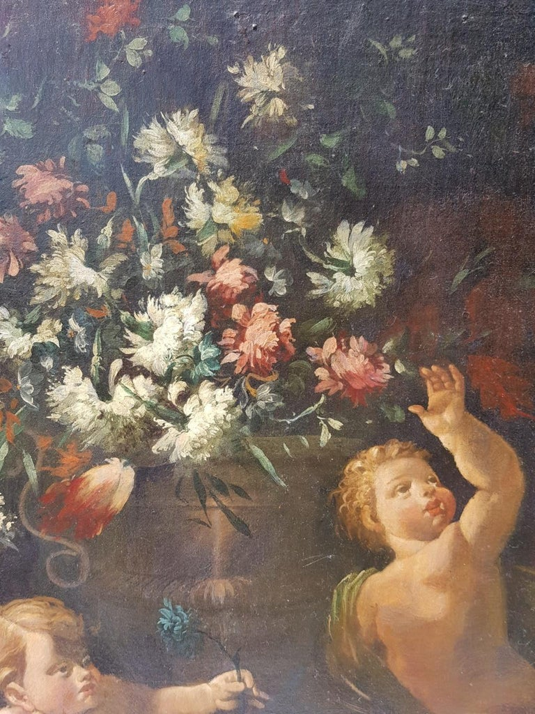 18th century Italian figurative painting - Still Life oil on canvas Italy putti For Sale 2