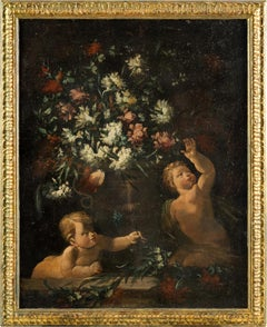 18th century Italian figurative painting - Still Life oil on canvas Italy putti