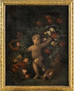 18th century Italian figurative painting - Still Life oil on canvas Italy putti