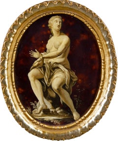 18th century Italian figure painting - Allegory - Oil on metal grisaille Italy