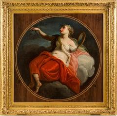 18th century Italian figure painting - Allegory Prudence Oil canvas Mythological