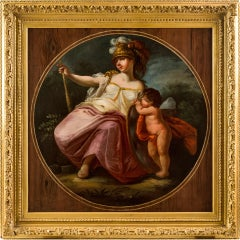18th century Italian figure painting - Allegory Strenght Oil canvas Mythological