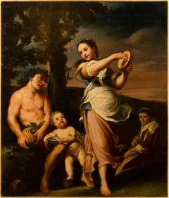18th century Italian figure painting - Bacchanal - Oil on canvas - Rococò Italy