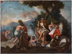 18th century Italian figure painting - Drunk feast - Oil on canvas Italy