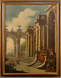 18th century Italian figure painting - Ruins landscape - Oil on canvas Italy