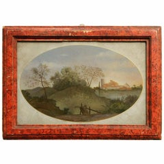 18th Century Italian Landscape Oil Painting on Glass with Red Lacquer Frame