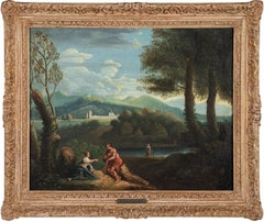 18th century Italian landscape painting - Figures Rome - Oil on canvas Italy