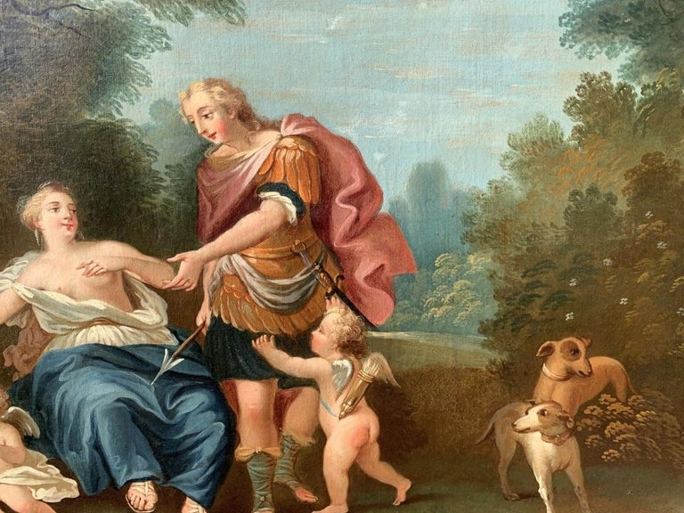 18th century Italian landscape painting - Mythological scene - Oil on canvas  For Sale 6