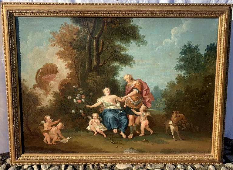 18th century Italian landscape painting - Mythological scene - Oil on canvas  - Painting by Unknown