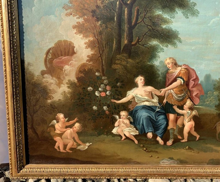 18th century Italian landscape painting - Mythological scene - Oil on canvas  - Rococo Painting by Unknown