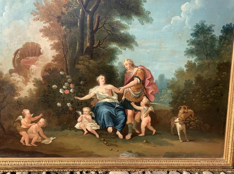 18th century Italian landscape painting - Mythological scene - Oil on canvas  - Brown Figurative Painting by Unknown
