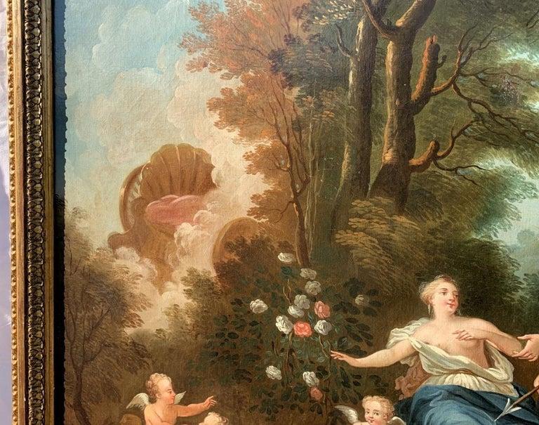 18th century Italian landscape painting - Mythological scene - Oil on canvas  For Sale 3