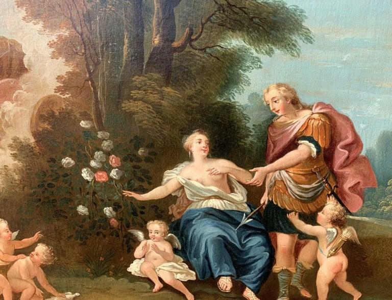 18th century Italian landscape painting - Mythological scene - Oil on canvas  For Sale 4