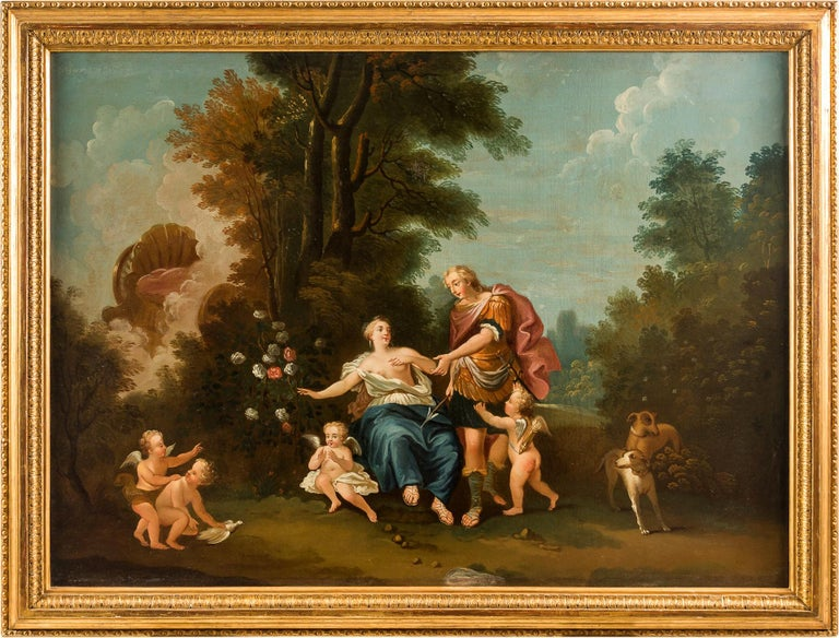 Unknown Figurative Painting - 18th century Italian landscape painting - Mythological scene - Oil on canvas