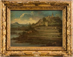 18th century Italian landscape painting - Ruins Rome Oil on canvas Italy baroque