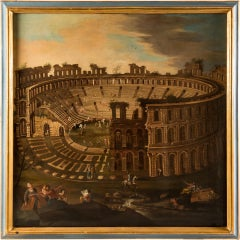 18th century Italian landscape view painting - Coliseum - Oil on canvas Italy