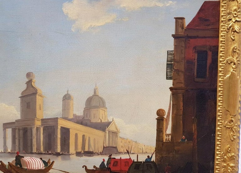 18th century Italian painting - View of Venice, Oil on canvas landscape Venetian For Sale 9