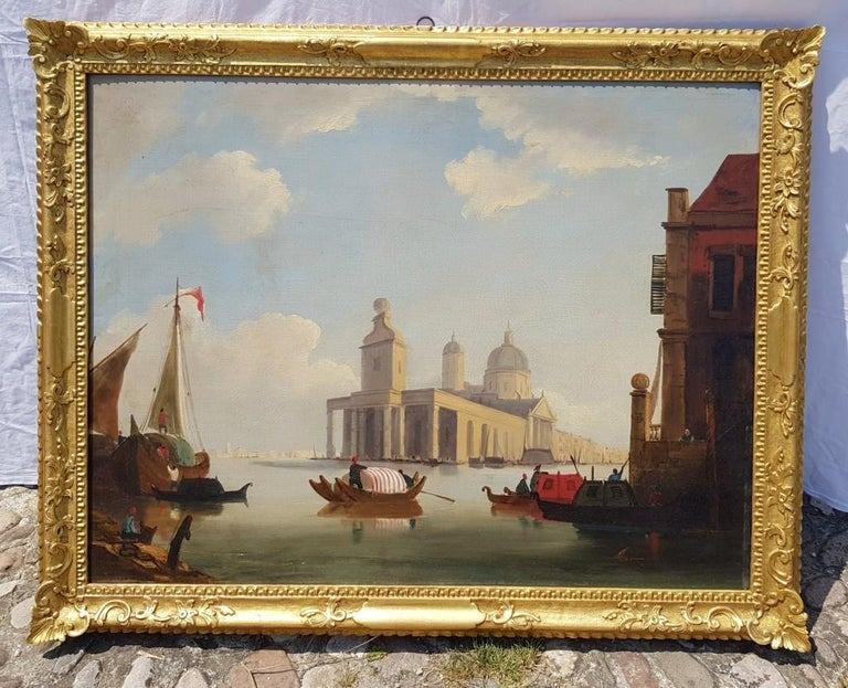 18th century Italian painting - View of Venice, Oil on canvas landscape Venetian For Sale 1