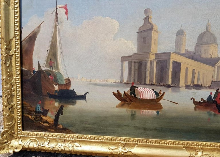 18th century Italian painting - View of Venice, Oil on canvas landscape Venetian For Sale 2