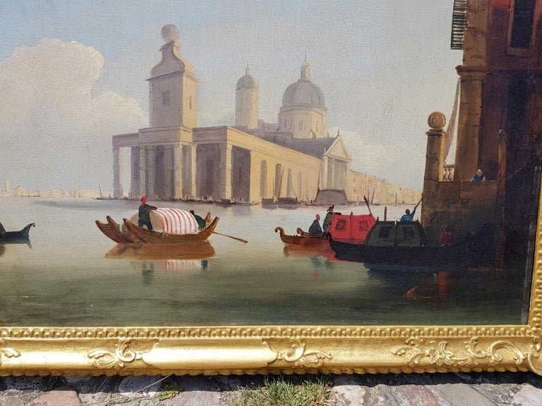 18th century Italian painting - View of Venice, Oil on canvas landscape Venetian For Sale 3