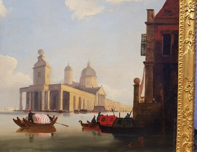 18th century Italian painting - View of Venice, Oil on canvas landscape Venetian For Sale 4