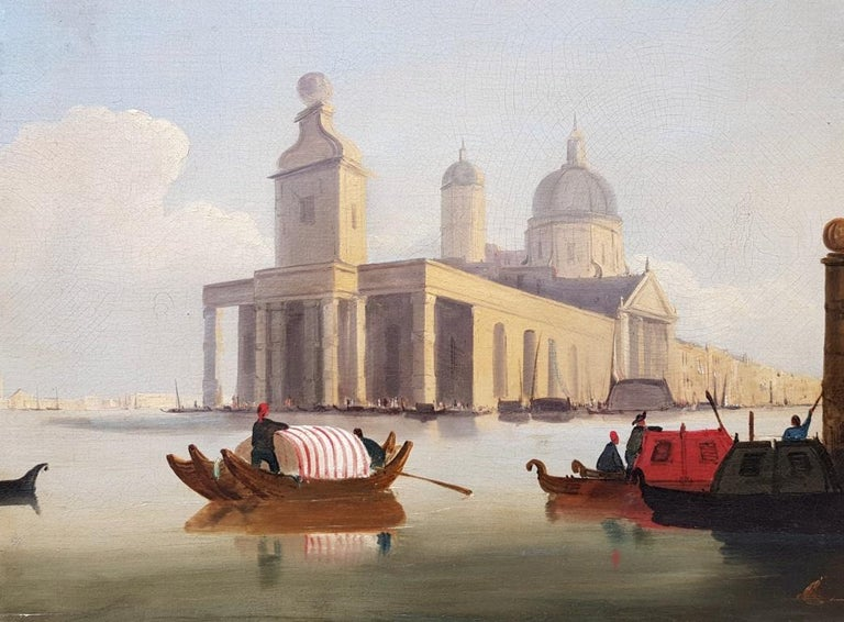 18th century Italian painting - View of Venice, Oil on canvas landscape Venetian For Sale 5