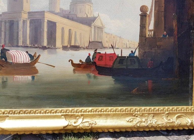 18th century Italian painting - View of Venice, Oil on canvas landscape Venetian For Sale 6