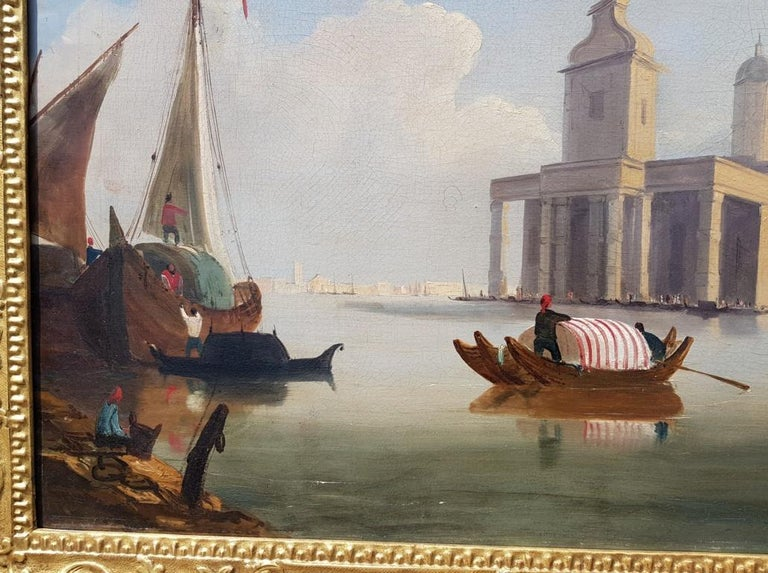 18th century Italian painting - View of Venice, Oil on canvas landscape Venetian For Sale 7